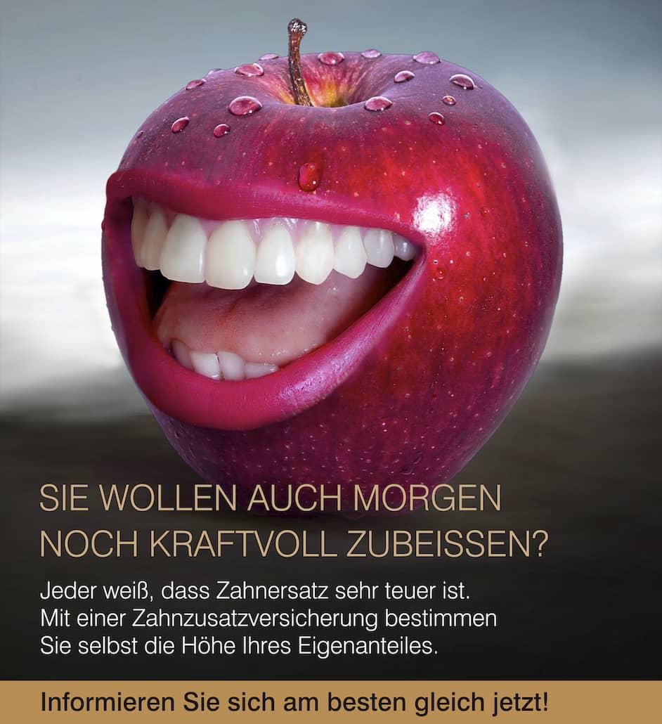 Apfel mit lachendem Gesicht mit Werbetext für Zahnversicherung von Finanzmakler Kempinski
